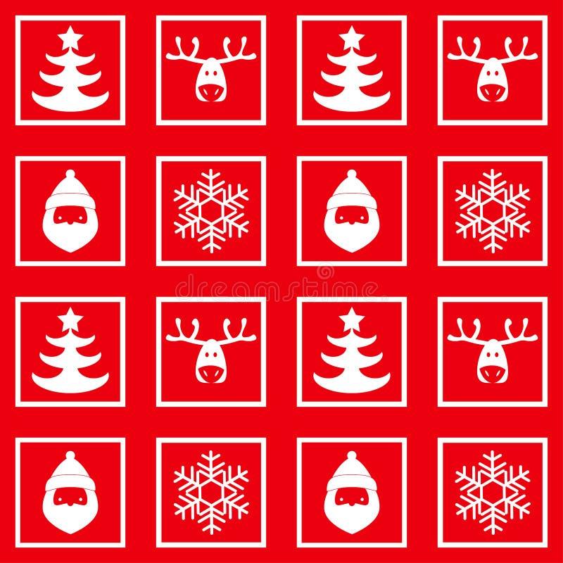 Vector безшовная checkered картина, Новый Год, рождество, силуэты оленей, снежинок, Санта Клауса иллюстрация штока