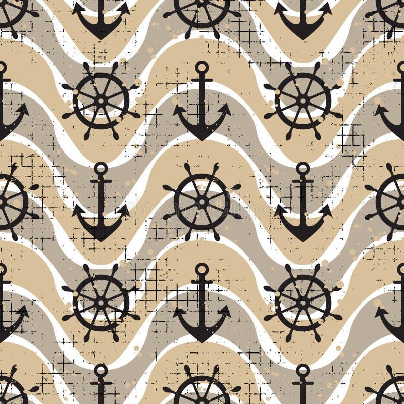 Vector безшовное рулевое колесо картины, спасательный жилет, анкер, предпосылки волн творческие геометрические винтажные, морская бесплатная иллюстрация