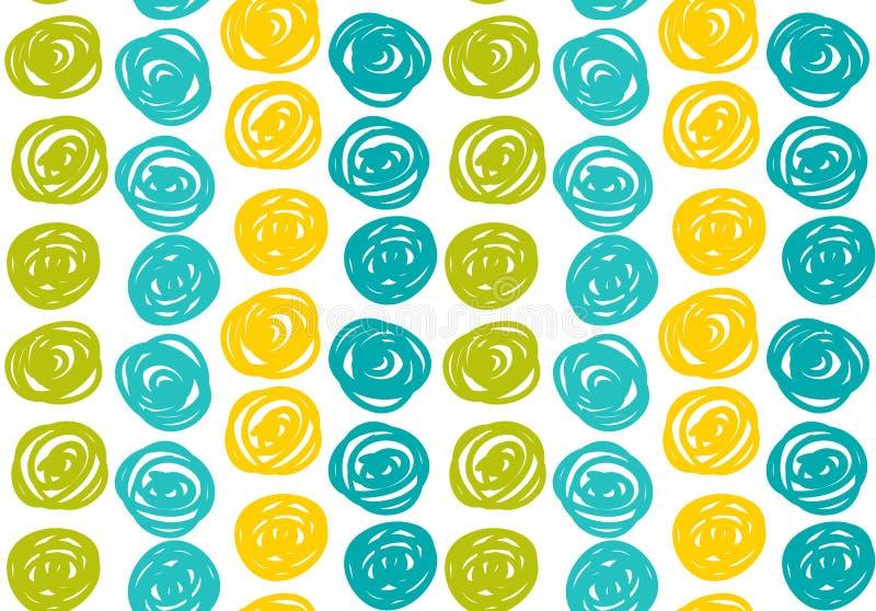 Vector безшовные предпосылки битника в син и зеленых цветах Стиль нарисованный рукой иллюстрация вектора