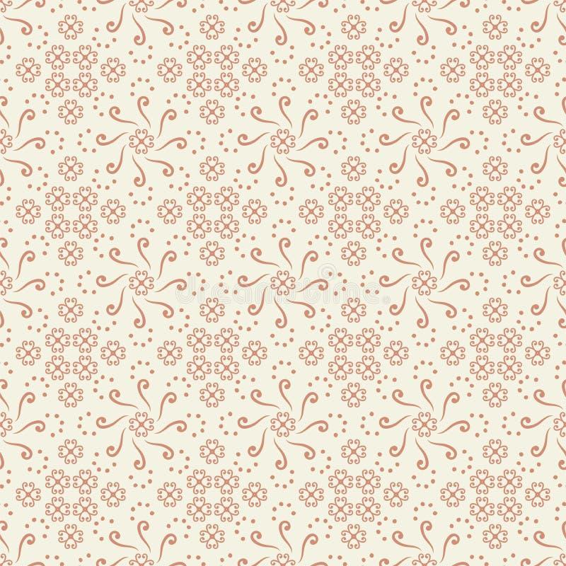 Vector безшовный орнамент и косоугольники круга сделанные скручиваемостей, точек, спиралей красных на белой картине предпосылки иллюстрация вектора