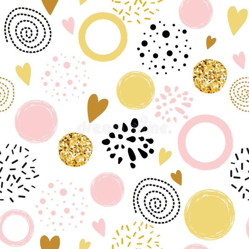 Vector безшовным золотое конспекта точки польки картины украшенное орнаментом, розовый, округлые формы нарисованные шайкой бандит бесплатная иллюстрация