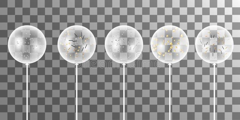 Vector белые воздушные шары с confetti на прозрачной предпосылке иллюстрация вектора