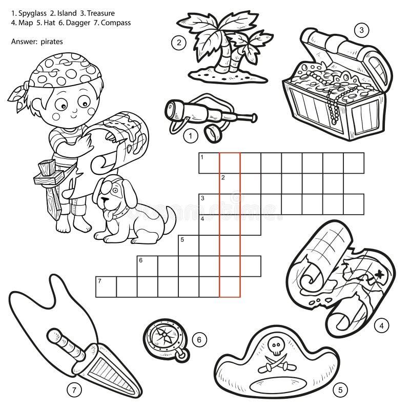 Vector бесцветный кроссворд, игра образования о пиратах иллюстрация штока