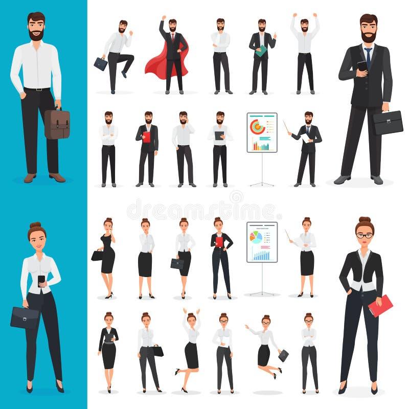 Vector бизнесмен и характер офиса бизнес-леди в различных представлениях конструирует комплект иллюстрация вектора