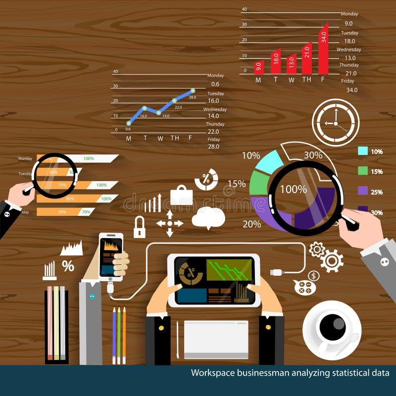 Vector бизнесмен мест работ анализируя дизайн статистических данных плоский иллюстрация штока