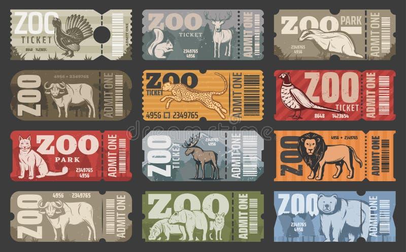 Vector билеты животных и птиц парка зоопарка бесплатная иллюстрация