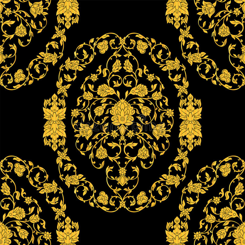 Vector богато украшенная безшовная картина в восточном стиле на черной предпосылке Орнаментальный винтажный дизайн для wedding пр иллюстрация штока