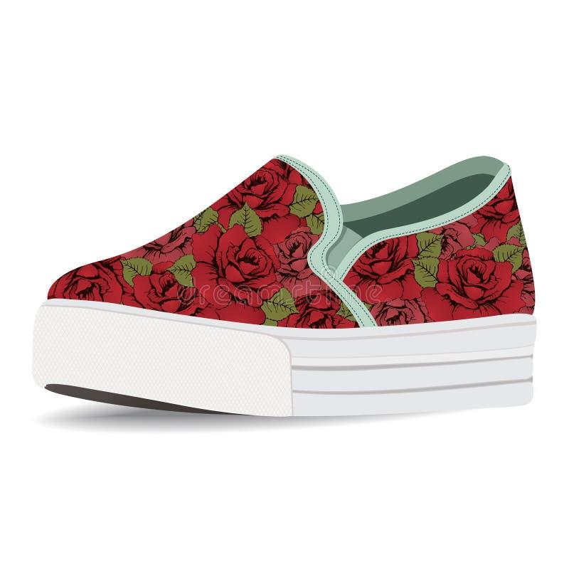 Vector ботинки, выскальзывани-на с флористической печати, loafer на высокой изолированной подошве, иллюстрация вектора