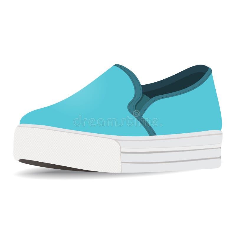 Vector ботинки, голубые выскальзывани-на, loafer на высокой изолированной подошве, иллюстрация штока