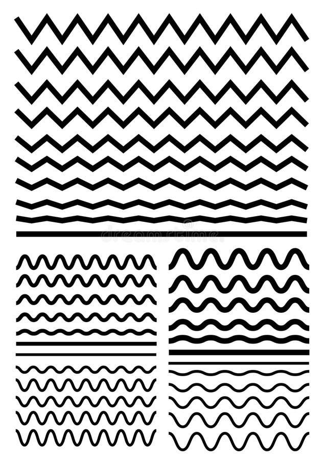 Vector большой комплект безшовных волнистых - curvy и зигзаг - criss пересеките иллюстрация вектора