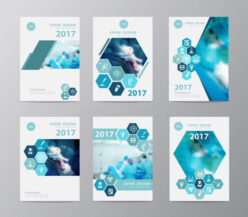Vector брошюра годового отчета с хирургом команды на работе в операционной иллюстрация штока