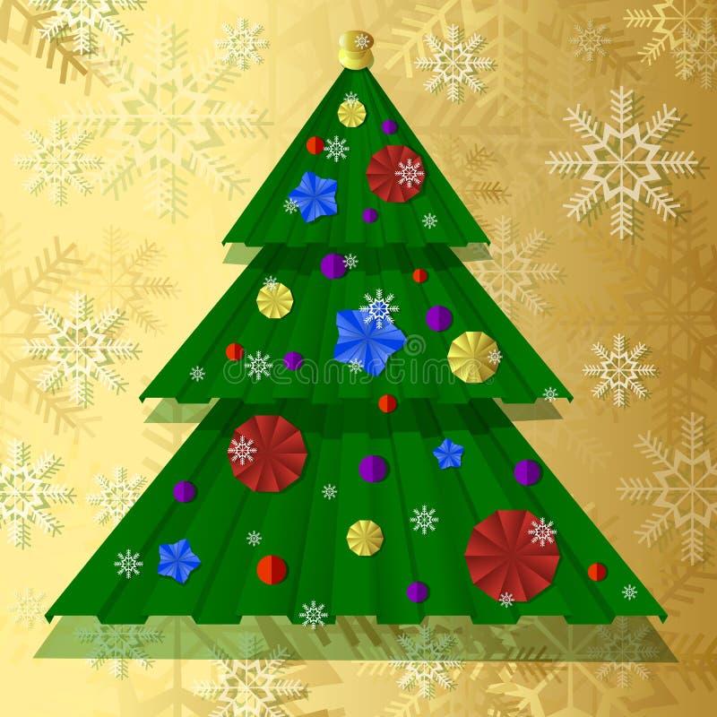 Vector бумажная рождественская елка, украшенная с праздничными бумажными воздушными шарами, снежинки иллюстрация штока