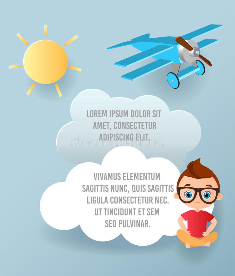 Vector бумажное искусство облака и выстрогайте летание в небе Брошюра рекламы шаблона с космосом для текста Знамя концепции Origa иллюстрация вектора