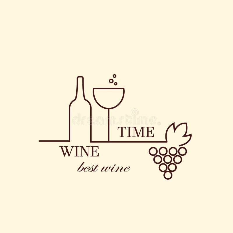Vector бутылки виноградной лозы и вина, шаблон дизайна логотипа иллюстрация штока