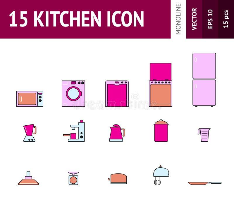 Vector варить иллюстрации и комплект значка плана кухни иллюстрация штока