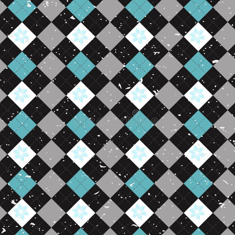 Vector вахта черноты тартана безшовной картины шотландский, чернота, белизна, голубая иллюстрация штока