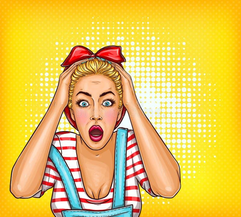 Vector вверх сотрясенный штырь, удивленная белокурая девушка искусства шипучки с раскрытым ртом Иллюстрация продажи, скидка, рекл иллюстрация штока