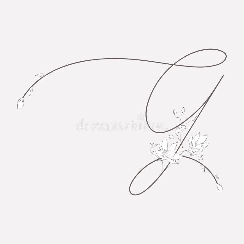 Vector вензель нарисованный рукой флористический g и логотип бесплатная иллюстрация
