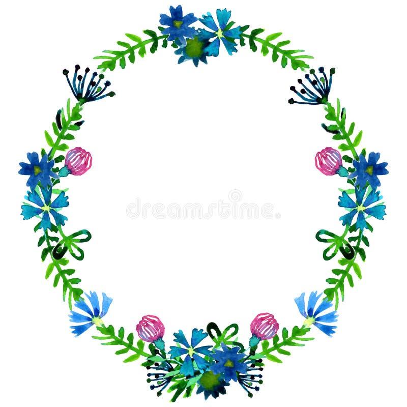 Vector венки акварели красочные флористические с цветками лета и центральное белое copyspace для вашего текста бесплатная иллюстрация