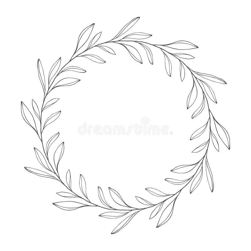 Vector венок нарисованный рукой флористический, круглая рамка с листьями бесплатная иллюстрация