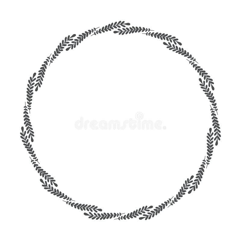 Vector венок нарисованный рукой флористический, круглая рамка с листьями иллюстрация вектора