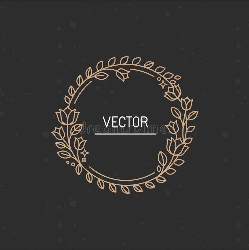 Vector венок сделанный с ветвями, листьями и цветками иллюстрация вектора