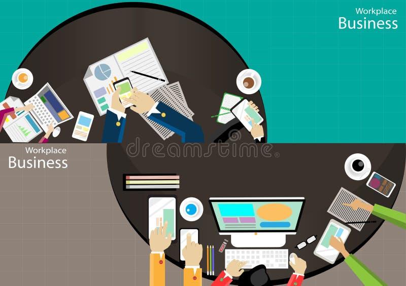 Vector взгляд сверху современные техники связи задают работу, усиление бизнесмена рабочего места передвижная бумага таблетки комп бесплатная иллюстрация