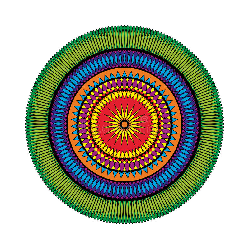 Vector взрослая покрашенная звезда мандалы картины книжка-раскраски - геометрические формы иллюстрация вектора