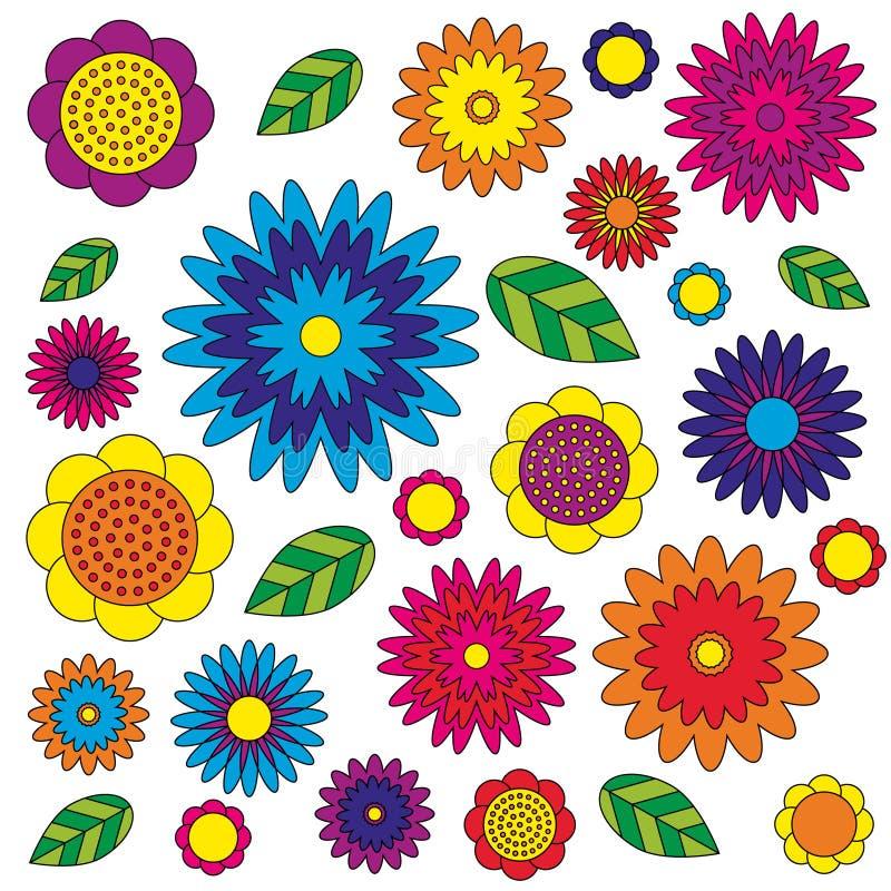 Vector взрослым луг wildflovers книжка-раскраски покрашенный цветочным узором красочный - цветки и листья - иллюстрация штока