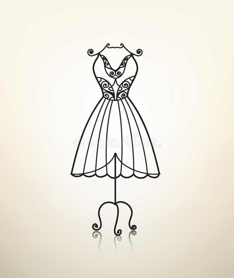 Vector винтажная вешалка платья металла, студия портноя бесплатная иллюстрация