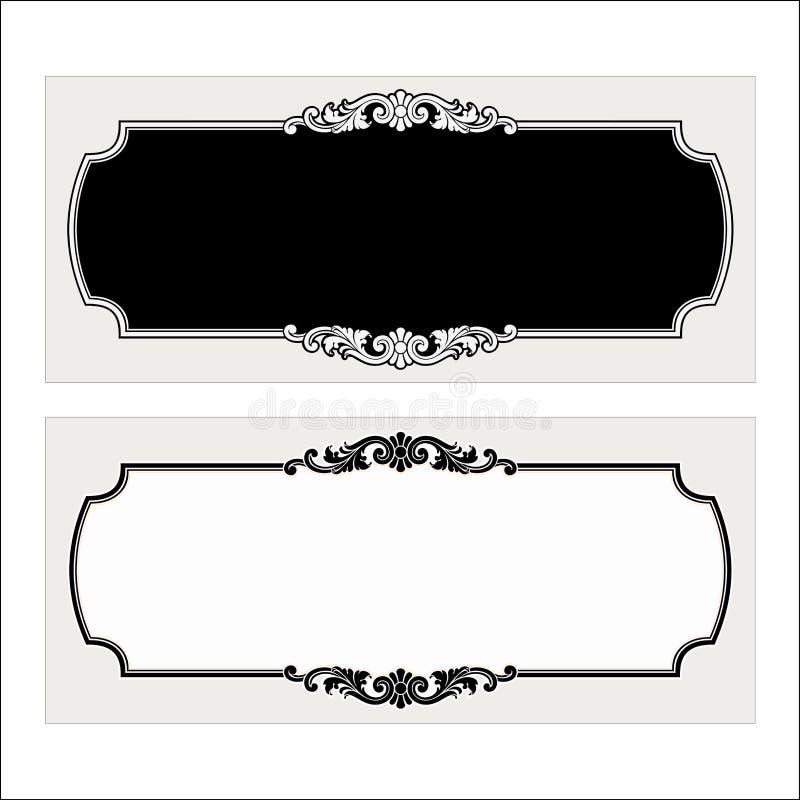 Vector винтажная гравировка рамки границы с ретро вектором орнамента стоковая фотография