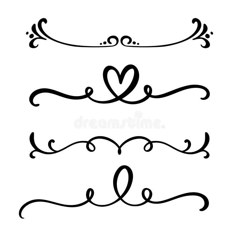 Vector винтажная линия элегантные рассекатели и разделители, свирли и орнаменты углов декоративные Флористические линии сердца фи бесплатная иллюстрация