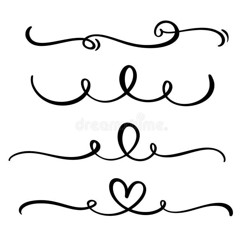 Vector винтажная линия элегантные рассекатели и разделители, свирли и орнаменты углов декоративные Флористические линии филигранн бесплатная иллюстрация