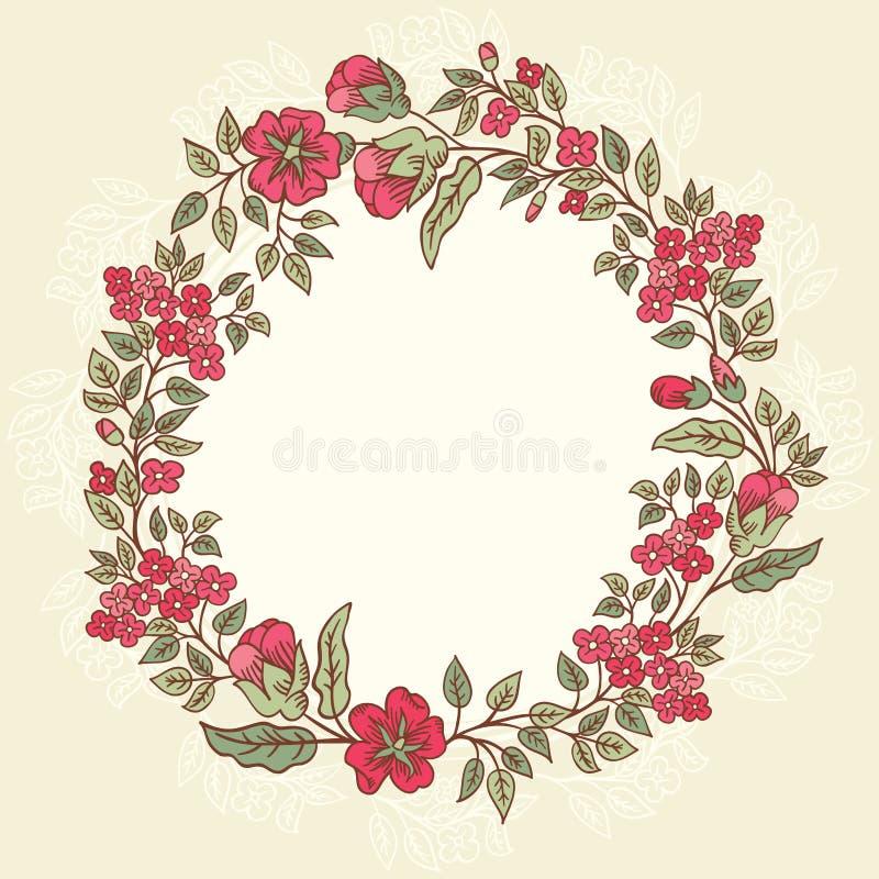 Vector винтажная поздравительная открытка с букетом цветков doodle и рамка для текста на ретро striped предпосылке иллюстрация штока