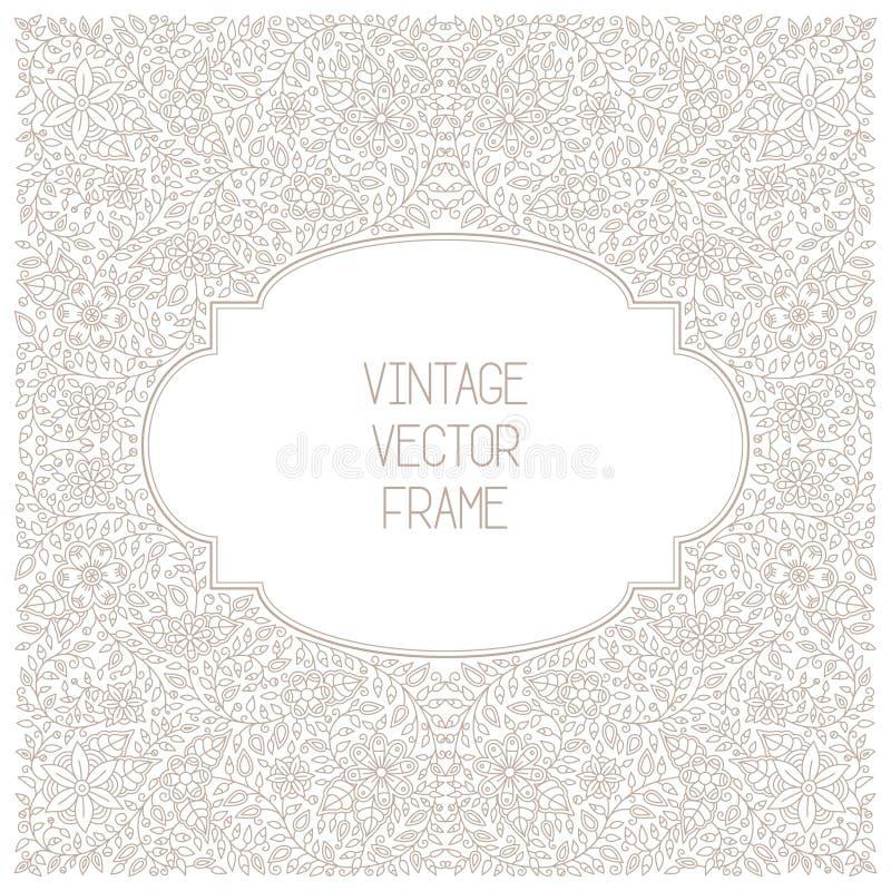 Vector винтажная флористическая рамка на белой предпосылке в mono тонкой линии стиле иллюстрация штока