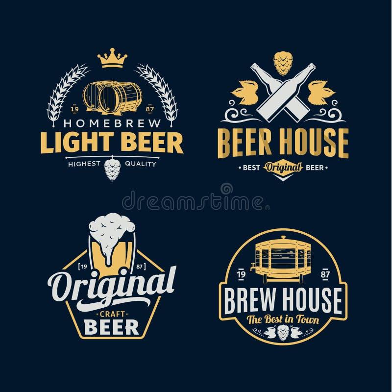 Vector винтажный логотип пива, значки и элементы дизайна иллюстрация вектора