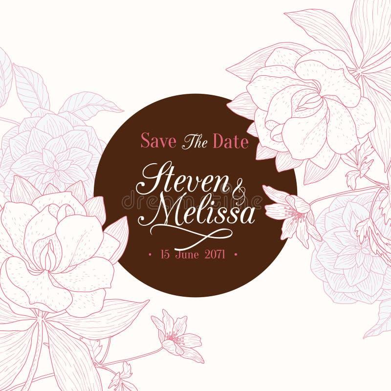 Vector винтажный шоколад - карточка приглашения свадьбы чертежа коричневой розовой круглой рамки флористическая иллюстрация штока