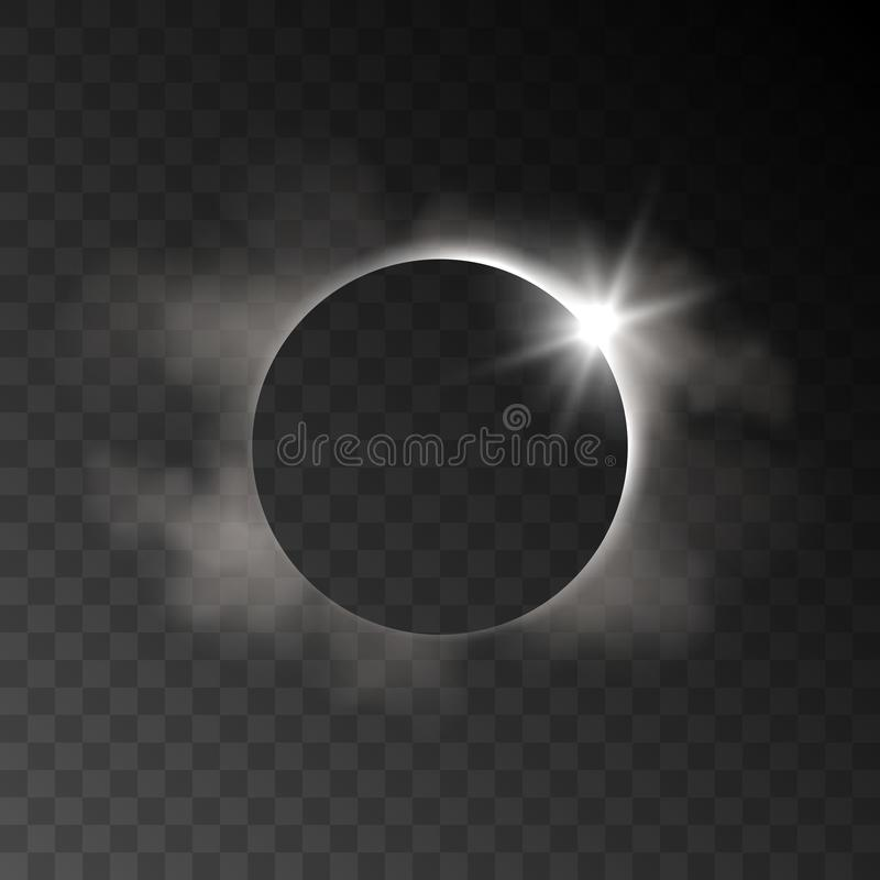 Vector влияние реалистического затмения прозрачное с облаками и ligh иллюстрация штока