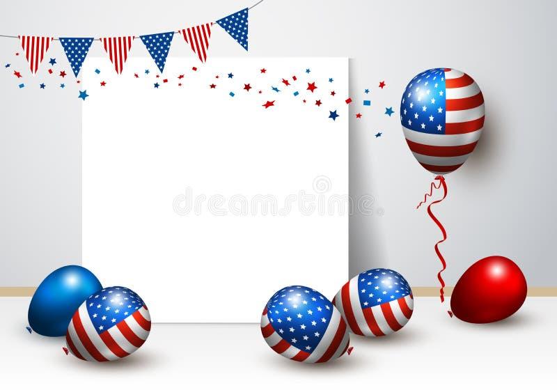 Vector воздушный шар США и прикройте дизайн рамки американского флага иллюстрация штока