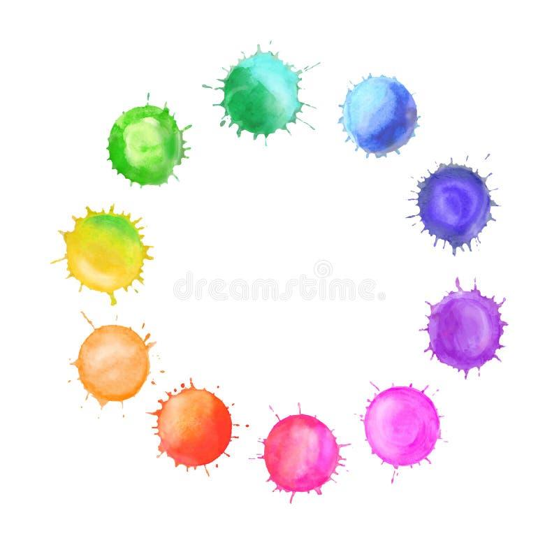 Vector вокруг рамки сделанной шариков радуги акварели иллюстрация штока