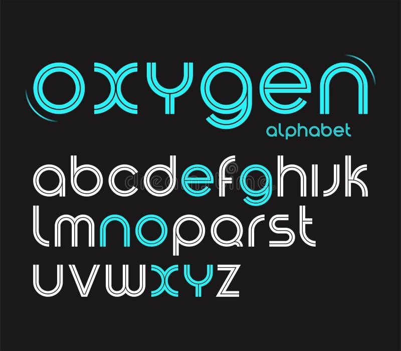 Vector вокруг шрифта стиля minimalistic, писем алфавита иллюстрация вектора