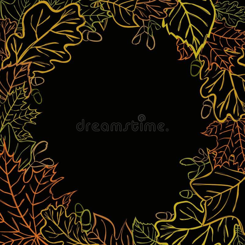 Vector вокруг элемента дизайна с кленом, березой, дубом, жолудем, тюльпаном иллюстрация штока