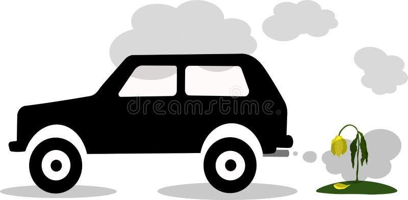 Vector вытыхание автомобиля иллюстрации, СО2, дым стоковое фото rf