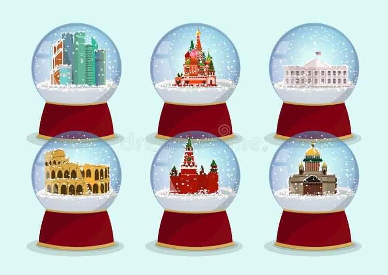 Vector глобус рождества стеклянный с падая снегом и архитектурноакустические туристические достопримечательности в ем Собор ` s S иллюстрация вектора