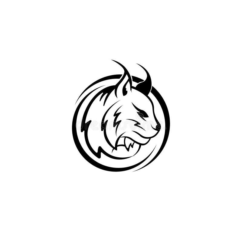 Vector голова рыся, сторона для ретро логотипов, эмблемы, значки, ярлыки шаблон и элемент дизайна футболки винтажный Изолированны иллюстрация вектора