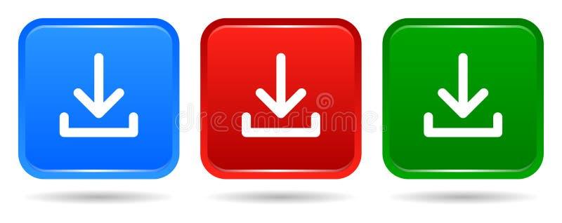 Vector голубых квадратной кнопки загрузки красный значок и зеленых цветов бесплатная иллюстрация