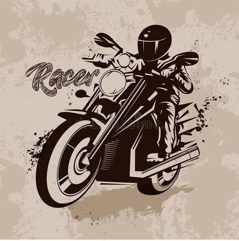 Vector гонщик иллюстрации на мотоцикле в стиле grunge иллюстрация штока
