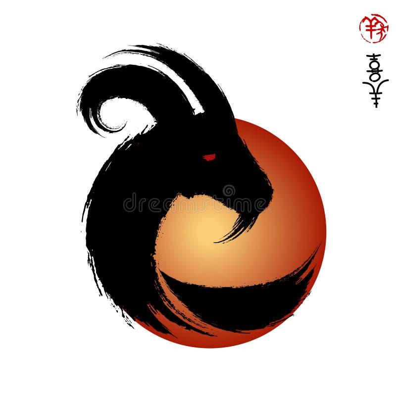 Vector голова года козы козы, уплотнения и китайского смысла i бесплатная иллюстрация