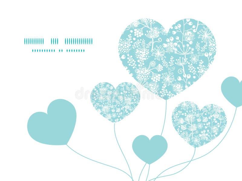 Vector голубое и белое сердце заводов сада шнурка иллюстрация штока