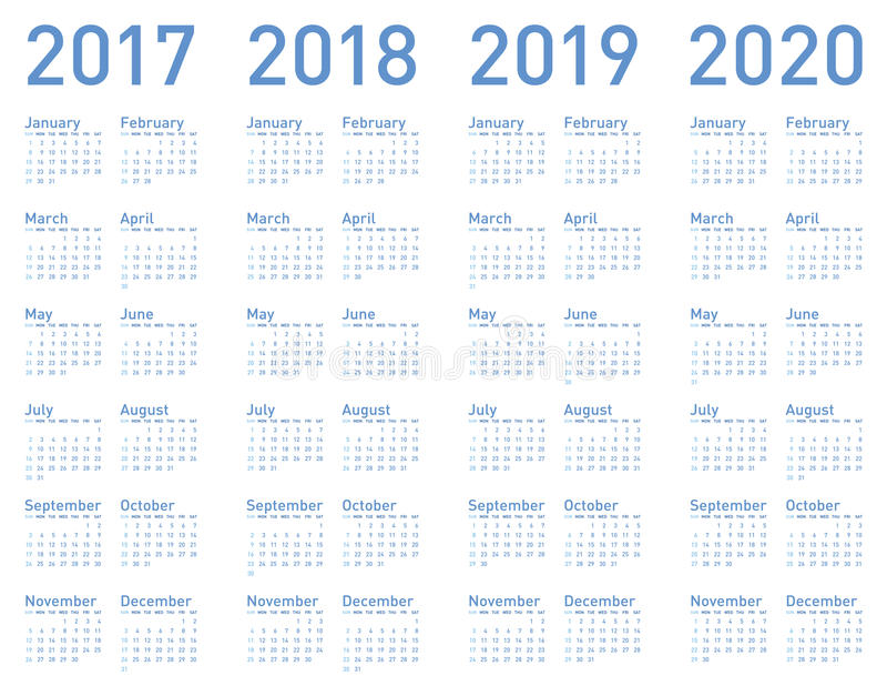 Vector голубой календарь на леты 2017, 2018, 2019 и 2020 иллюстрация вектора